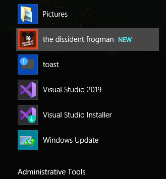 PWA installed in Windows Start menu